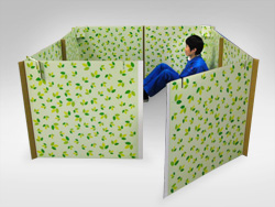 Corrugated board partition for evacuation shelters