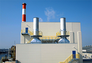 External view of gas turbine power plant